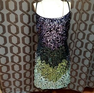 Adrianna Papell ombre sequin tank cocktail dress